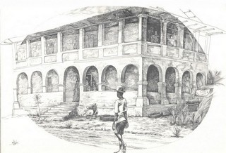 Lithographie Africaine, maison coloniale